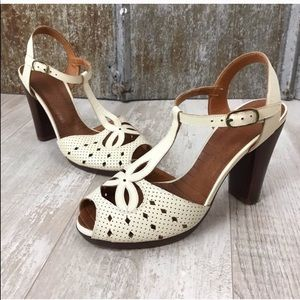 CHIE MIHARA T-Strap Perforated Leather Sandal Heel
